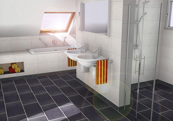 3D Bad mit Dachschräge